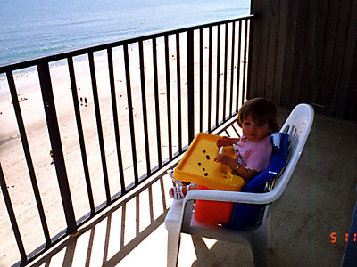 Sydney has a great view of Virginia Beach as she eats her snack.
