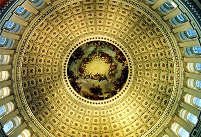 The inside of the U.S. Capitol rotunda.