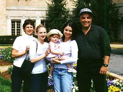 Hilarie, Jennifer, Melissa and Richard Nichols with Sydney Jean Kane on the front lawn of The Kennedy-Warren. Believe it or not, Kathy was the girls' aupair when she first came to the States. As you can see, that was quite a few years ago.