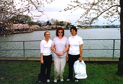 Kathy Kane, Jennifer and Hilarie Nichols enjoying the cherry tree blossoms around the Tidal Basin at the Thomas Jefferson Memorial.