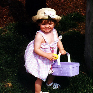 Sydney Jean Kane is one pretty happy toddler after nabbing an Easter egg on the front lawn of The Kennedy-Warren.