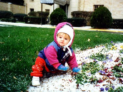 """Is there enough to make a snow man yet?"" Sydney Jean Kane outside the Kennedy-Warren."