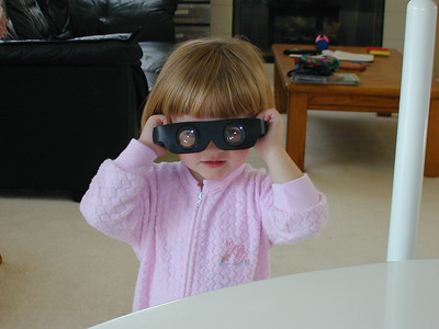 Sydney goofing around with magnifying glasses. Maybe her little brother won't look so little after all.