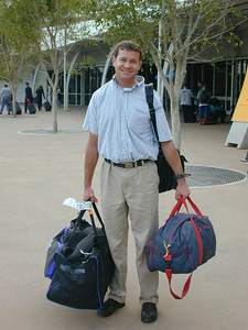 Chip Nixon arriving at the airport ready for some Olympic fun.