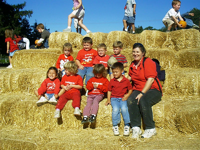 Christopher (back row center) with his preschool class and teacher, Ms. Karen, at the Faulkner Farms pumpkin patch in Santa Paula.