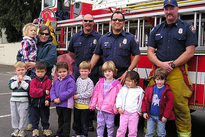 Ms. Karen's class with the Ventura Fire Dept. at First Baptist Day School.