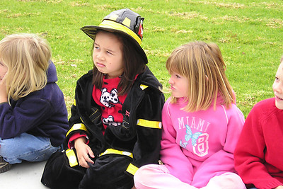 Sierra and Sydney during the Ventura Fire Dept. visit to First Baptist Day School.