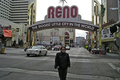 "Kathy on the main strip in Reno, ""The Biggest Little City in the World."""