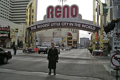 "Pat on the main strip in Reno, ""The Biggest Little City in the World."""