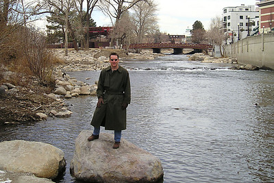 Pat alongside the Truckee River, which runs through Reno. The city is creating a whitewater park on the river just upstream of where this picture was taken.