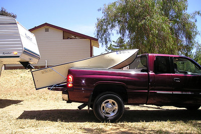 The Porta-Bote rides well in the back of the truck supported by just the 5th wheel hitch and the tailgate. A little bit of rope around the stern keeps it secure for the trip to and from the campsite and boat ramp at Lake Casitas.