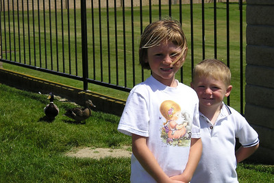 Christopher and Sydney Kane feeding the ducks at River Ridge.