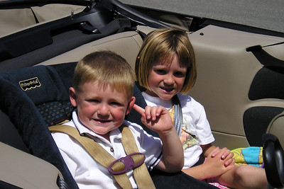 Christopher and Sydney Kane are ready for a ride home in Aunt KK's rental car after feeding the ducks at River Ridge.