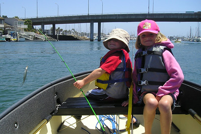 """Christopher and Sydney Kane. Christopher was pretty proud of the """"big one"""" he caught and """"I caught a fish"""" was yelled out everytime a boat passed :-)"""