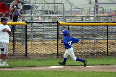 Simon Roth running the bases during a King City All-Stars baseball game.