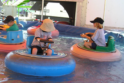 Christopher and Sydney Kane really enjoyed this bumper boat ride at the Ventura County Fair.