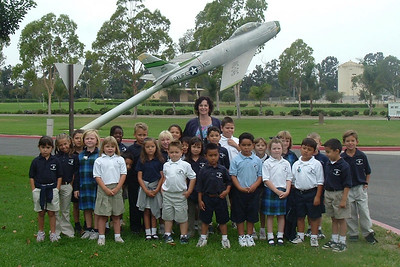 Sydney Kane with the rest of Ms. Beyer's first grade class from St. John's Lutheran School on a field trip to the California Air National Guard station.