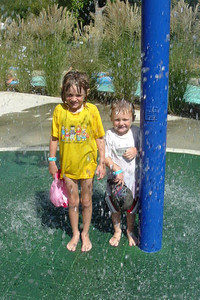 It was a hot day, so Christopher and Sydney Kane didn't mind getting soaked at the Lake Casitas Water Adventure.