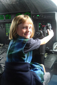 Sydney Kane aboard a new C-130 during a class field trip to the California Air National Guard station.
