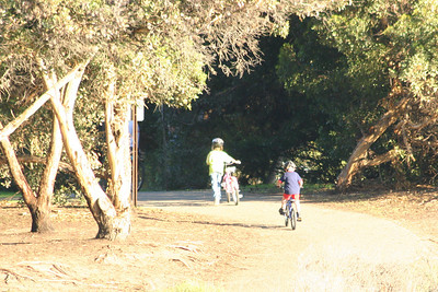 Sydney and Christopher Kane heading down to El Capitan State Beach on their bikes.