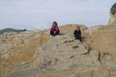 Sydney and Christopher Kane enjoying the rock outcroppings at El Capitan State Beach.