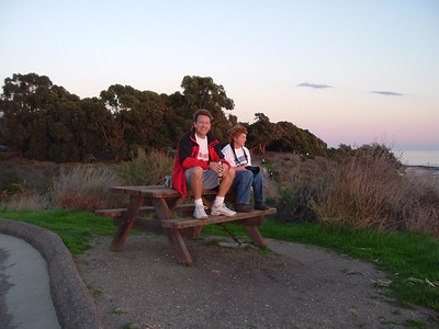 Pat and Kathy enjoying the sunset at El Capitan State Beach.