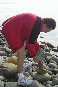 Pat Kane balancing rocks at El Capitan State Beach.