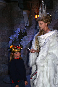 Sydney and The White Witch, the Queen of Narnia, who had placed a spell on the land so that it is winter and never Christmas. She wields a wand that turns creatures and people to stone. This character actor was extremely good at her job--her stare and sneer were scary.