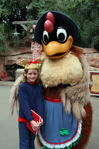 Sydney and a chicken at Big Thunder Ranch.