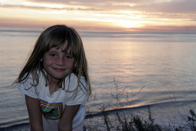 Sydney enjoying the sunset at El Capitan State Beach