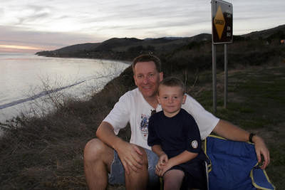 Pat and Christopher enjoying the sunset at El Capitan State Beach