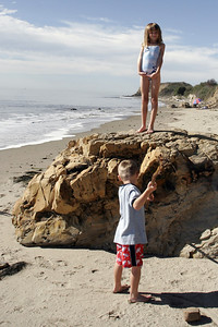 Christopher and Sydney having fun at El Capitan State Beach.