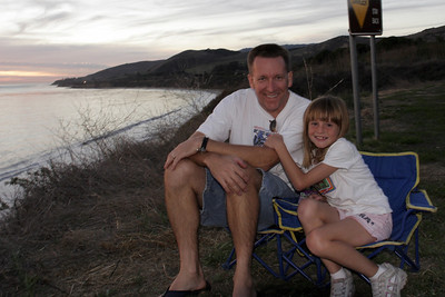Pat and Sydney enjoying the sunset at El Capitan State Beach