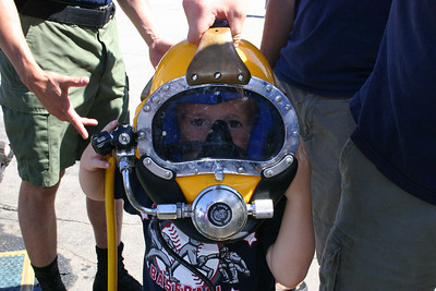 Christopher wearing a MK-21 dive helmet at Seabee Days.