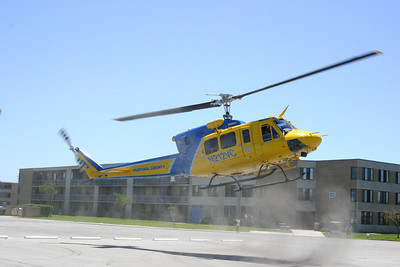 Ventura County Sheriff's helicopter coming in for a landing during the Seabee Days festivities.
