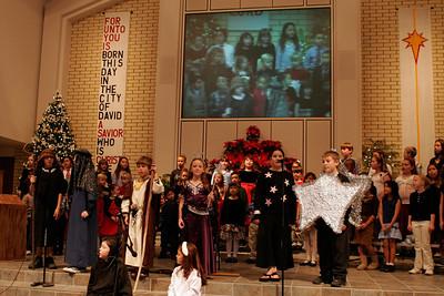 Sydney & Sierra on the big screen during St. John's Lutheran School 2005 Christmas Program.