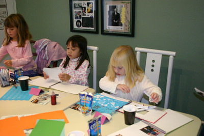 For her 7th birthday party, Sydney had a bunch of friends over to scrapbook. Nicole, Sierra & Samantha.