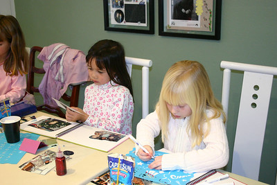 For her 7th birthday party, Sydney had a bunch of friends over to scrapbook. Sierra and Samantha