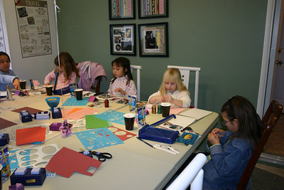For her 7th birthday party, Sydney had a bunch of friends over to scrapbook. Taylor, Nicole, Sierra, Samantha & Alyssa.