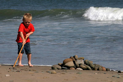 Sand, sticks and rocks. What else could Christopher need?!