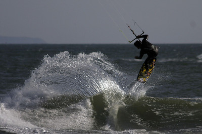 Kite surfing near the mouth of the Ventura River.