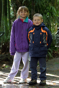 Sydney and Christopher enjoying a cold and windy day at the San Diego Zoo.