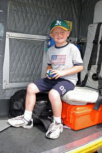 Christopher checking out the Ventura County Sheriff's helicopter during Seabee Days.