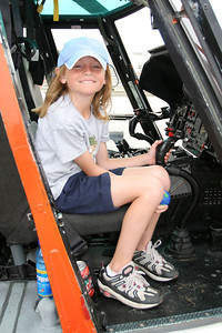 Sydney checking out a US Coast Guard helicopter during Seabee Days.