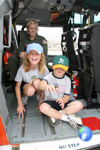 Sydney and Christopher checking out a US Coast Guard helicopter during Seabee Days. The rescue swimmer did a great job telling the kids how they save people using the helicopter. Sydney was glad to see that a young woman could be good at this type of challenging job.