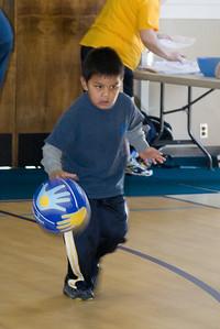 Isaac enjoying basketball camp at St. John's Lutheran School.