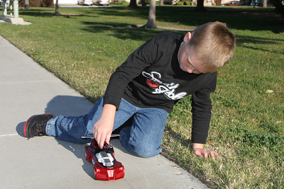 Christopher playing with one of the toys he got for Christmas.