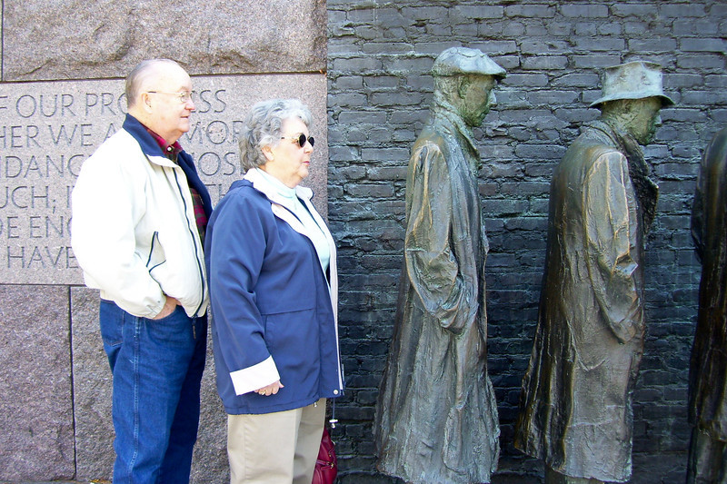 Grady and Mary Clare in the bread line at the Franklin Delano Roosevelt Memorial. (Image taken with KODAK EASYSHARE C653 ZOOM DIGITAL CAMERA at ISO 80, f2.7, 1/50 sec and 6mm)