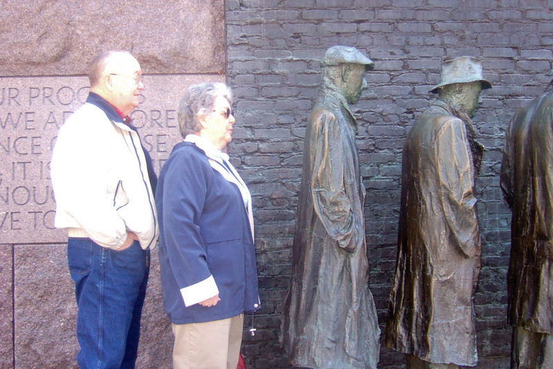 Grady and Mary Clare in the bread line at the Franklin Delano Roosevelt Memorial. (Image taken with FinePix F10 at ISO 400, f2.8, 1/160 sec and 8mm)