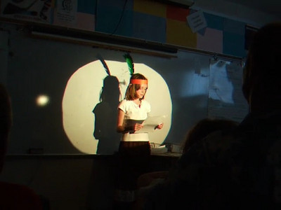 The Taylor Elementary 4th graders recited stories that they wrote based on people in the Virginia Hall of Fame. Sydney was Pocahontas. (11 Jun 2008)